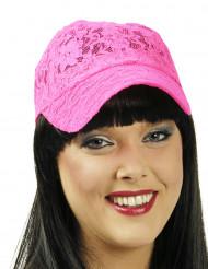 Baseball-Cap aus Spitze pink