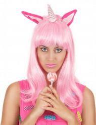 Einhorn Perücke mit Ohren und Horn rosa-weiss