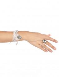 Edles Spitzen-Armband mit Ring weiss-silber