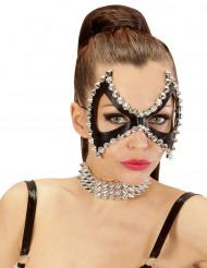 Augen-Maske mit Nieten Punk schwarz-silber