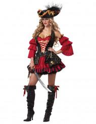 Edles Piratin Damen-Kostüm rot-gold-schwarz