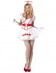 Aufreizendes Kostüm Krankenschwester für Damen weiss-rot