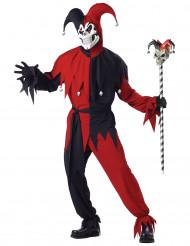 Böser Clown Harlekin Halloween-Kostüm rot-schwarz