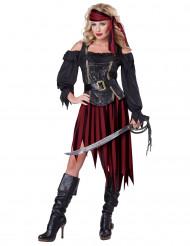 Piratenkönigin Damenkostüm Piratin schwarz-rot