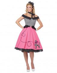 50er Jahre Damenkostüm schwarz-weiss-rosa