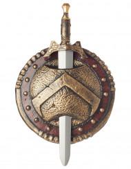 Spartakus Schild und Schwert silber-gold 50cm