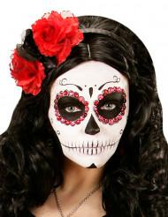 Gothic Glitter-Haarreif mit Rosen schwarz-rot