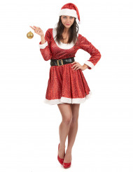 Weihnachtsfrau Damenkostüm mit Glizterpunkten 3-teilig rot-weiß-schwarz