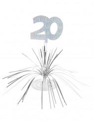 20. Geburtstag Tischaufsteller silber 30x 29cm