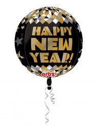 Luftballon Happy New Year Partydekoration schwarz-gold-silber 38 cm