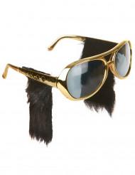 Sonnenbrille mit Koteletten - Rock 'n' Roll Kostümaccessoire gold-schwarz