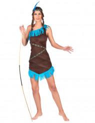 Indianerin Damen-Kostüm braun-blau