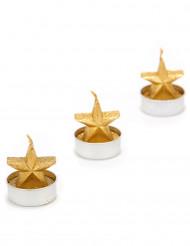 Teelichter in Sternenform Weihnachstsdekoration 3 Stück gold