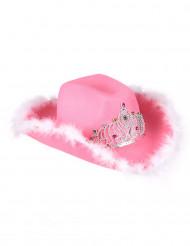 Cowboyhut mit Strass und Federn Partyhut JGA pink-silber