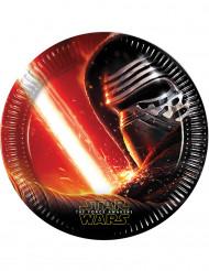 Pappteller Star Wars VII Lizenzartikel 8 Stück schwarz-rot 22,5 cm