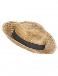 Panama-Hut Strohhut mit Band beige-schwarz