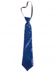 Pailletten-Krawatte Kostümzubehör blau ca. 38  cm lang