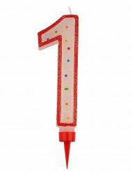 Riesen Kerze - Zahl 1 Tortendekoration Partydekoration rot-weiß-bunt 15 x 7 cm