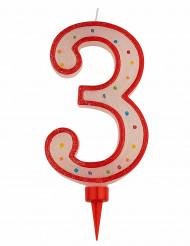 Riesen Kerze - Zahl 3 Tortendekoration Partydekoration rot-weiß-bunt 15 x 7 cm