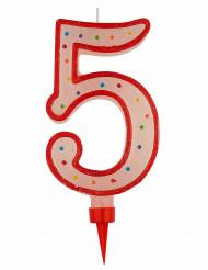Riesen Kerze - Zahl 5 Tortendekoration Partydekoration rot-weiß-bunt 15 x 7 cm