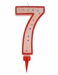 Riesen Kerze - Zahl 7 Tortendekoration Partydekoration rot-weiß-bunt 15 x 7 cm