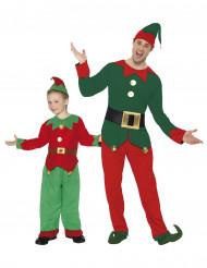 Fröhliche Weihnachtselfen Kostüm-Set für Vater und Sohn rot-grün-weiss
