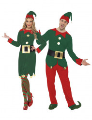 Weihnachtswichtel Kostüm-Set für Paare grün-rot