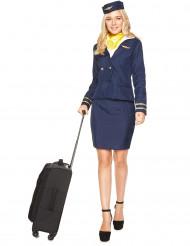 Stewardess Damenkostüm Flugbegleiterin blau-weiss-gelb