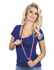 Frankreich Fan Perlenkette blau-weiß-rot