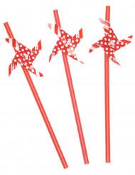 Strohhälme mit Windrad 3 Stück rot-weiss