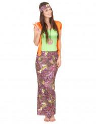 Schickes Hippie-Damenkostüm 60er-Outfit grün-orange-pink