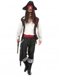 Piratenkapitän Herrenverkleidung weiss-schwarz-rot