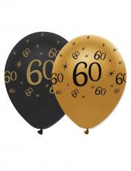 Geburtstagsballons 60 Jahre Jubiläums-Luftballons 6 Stück gold-schwarz 30cm