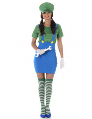 Videospiel Klempnerin Damenkostüm blau-grün