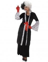 Sexy Cruella Damenkostüm schwarz-weiß-rot