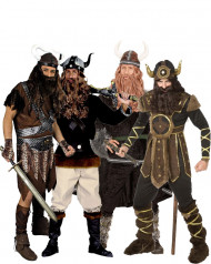 Wilde Wikingerkrieger Gruppenkostüm-Set für Herren bunt