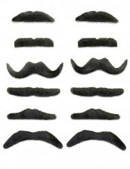 Lustiges Schnurrbart-Set 12 Stück schwarz