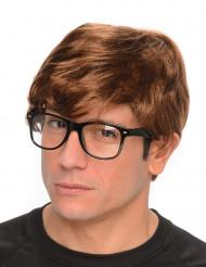 Geheimagent-Perücke mit Brille Erwachsene braun-schwarz