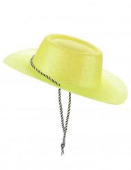 Western Glitzer Cowboyhut mit Kordel für Erwachsene gelb