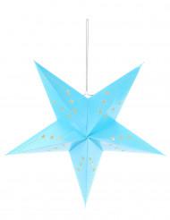 Laterne Stern mit sternförmigen Löchern blau