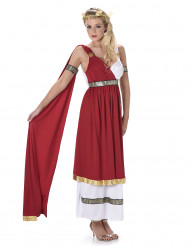 Elegante Römerin Antike Damenkostüm rot-weiss-gold