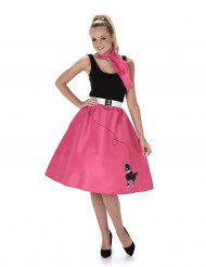 50er Jahre-Damenkostüm Rock n Roll Fuchsiafarben
