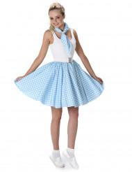 50er Jahre Damenkostüm blau-weiß