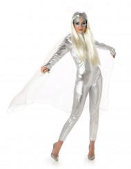 Alien-Damenkostüm Außerirdischenkostüm silber