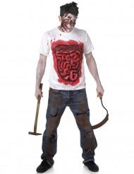 Zombie-Shirt mit blutigen Eingeweiden Halloween weiss-rot