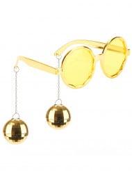 70er Spaßbrille mit Discokugeln gold