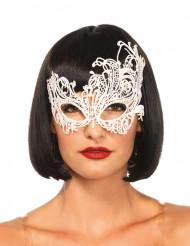 Elegante venezianische Augenmaske mit Spitze für Damen weiß