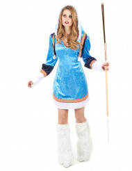 Elegantes Eskimo Damen Kostüm blau-weiss