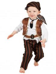 Kleiner Pirat Babykostüm Freibeuter braun-weiss-schwarz