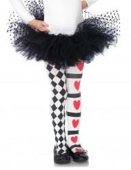 Kinder-Strumpfhose Harlekin Herzen schwarz-weiss-rot